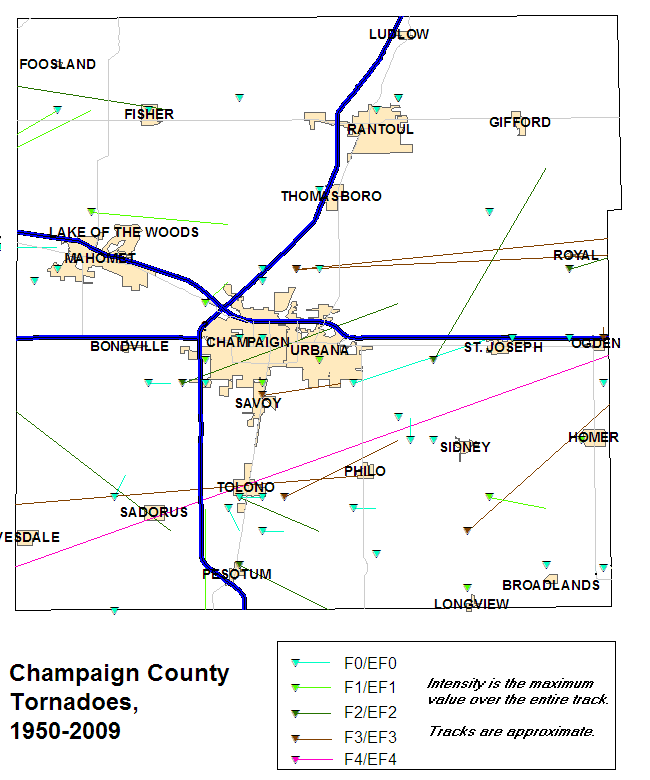 Tornado tracks, Champaign County, 1950-2009.
