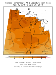 April temperature departures