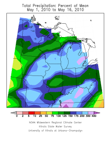 May 1-16 percent of normal precipitation