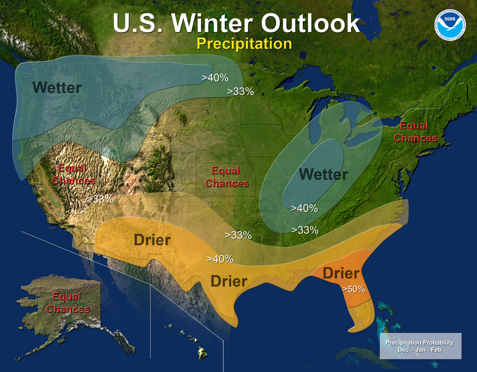 Winter outlook for precipitation (NOAA)