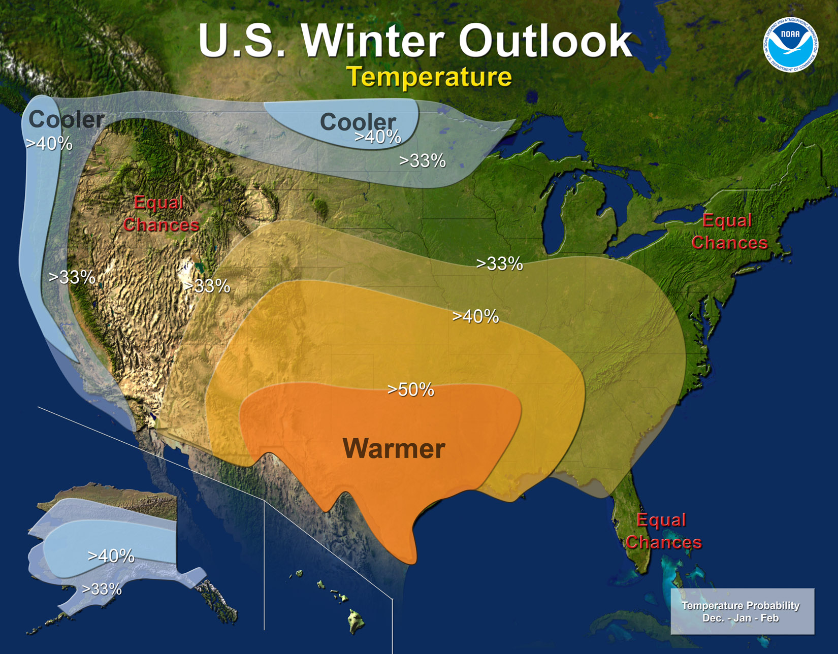 winter outlook for temperature (NOAA)