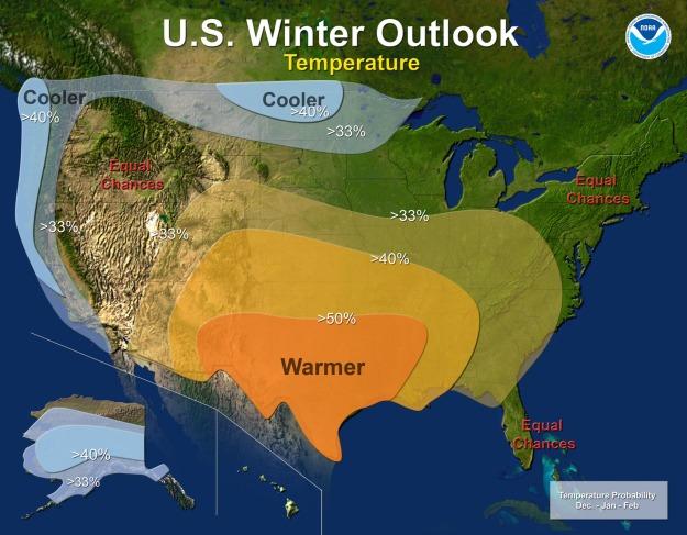 winter outlook for temperature (NOAA)