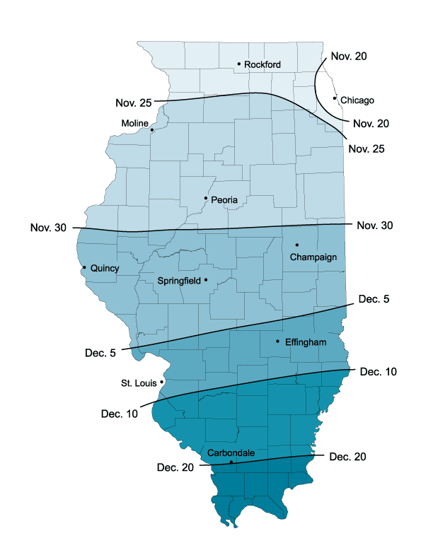 average date of first snow in illinois illinois state climatologist