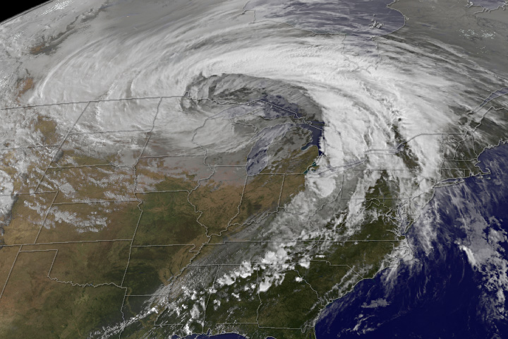 Satellite view of Midwest storm of late October 2010