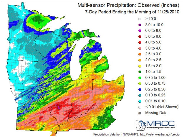 7 day rainfall Midwest