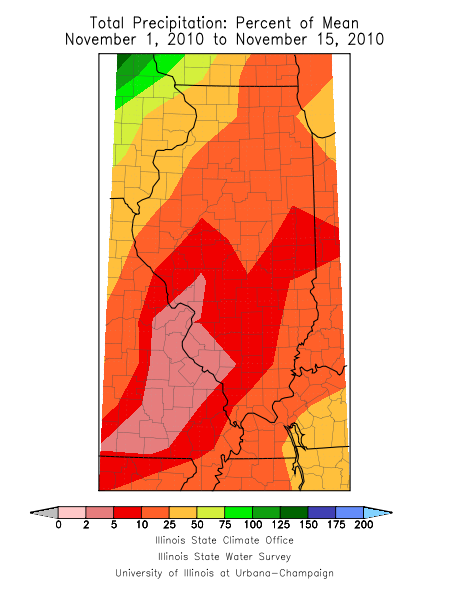 Precipitation percent of normal for first half of November 2010