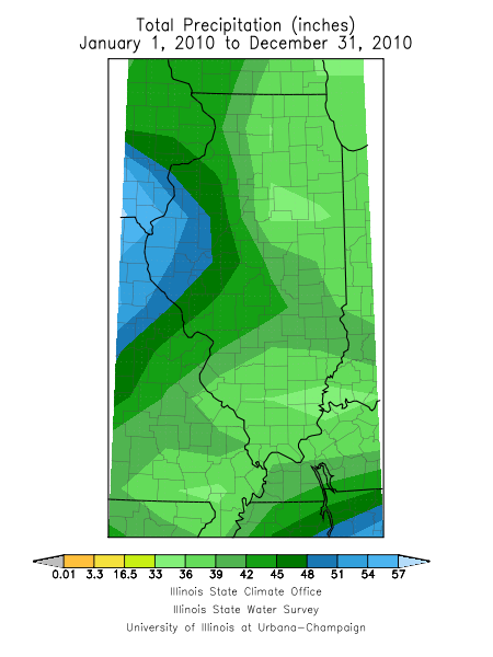 2010 precipitation total for Illinois