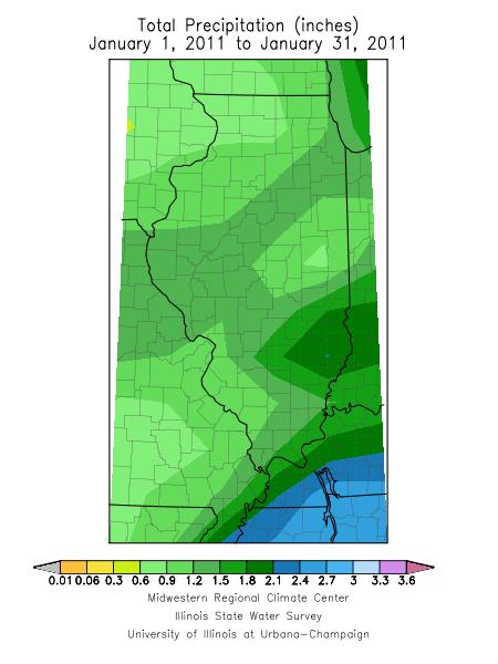 January 2011 precipitation for Illinois.