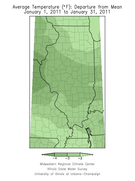 January 2011 temperature departure for Illinois.