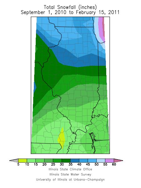 Total snowfall through February 15.