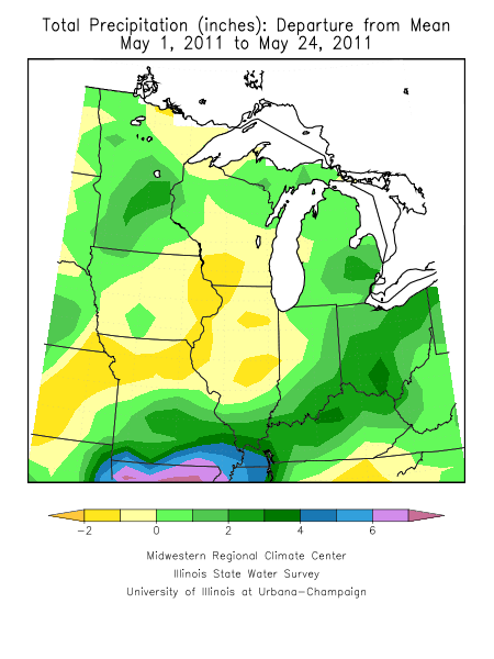 May rainfall across the Midwest