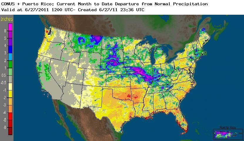 June rainfall across the US (courtesy NOAA).