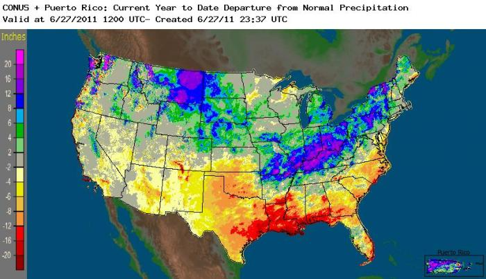 Year to date precipitation departure for the US.
