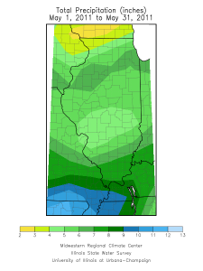 May 2011 rainfall in Illinois.