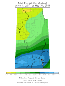 Total rainfall for March-May, 2011, in Illinois.
