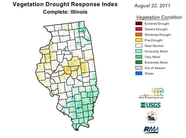 VegDRI map for Illinois for August 22, 2011.