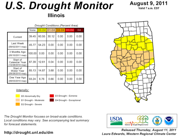 Drought monitor for Illinois