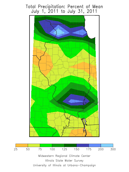 July 2011 rainfall departure for Illinois