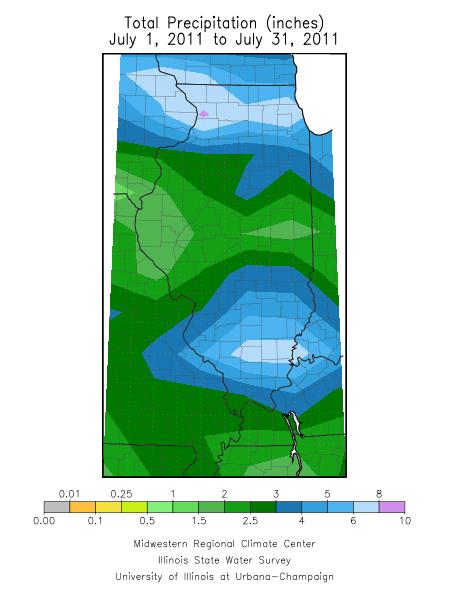 July 2011 rainfall in Illinois