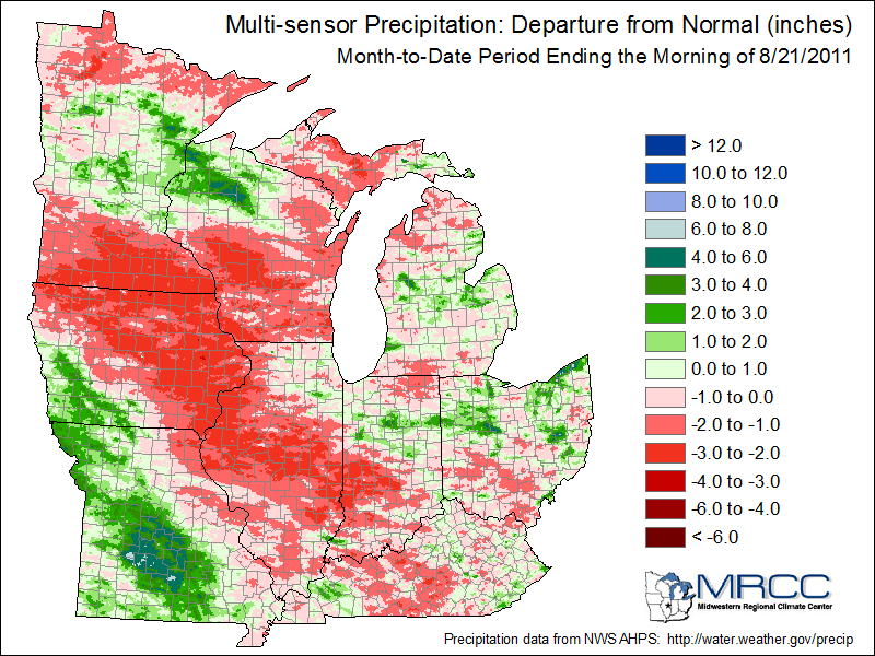 Precipitation departure in the Midwest for August 2011