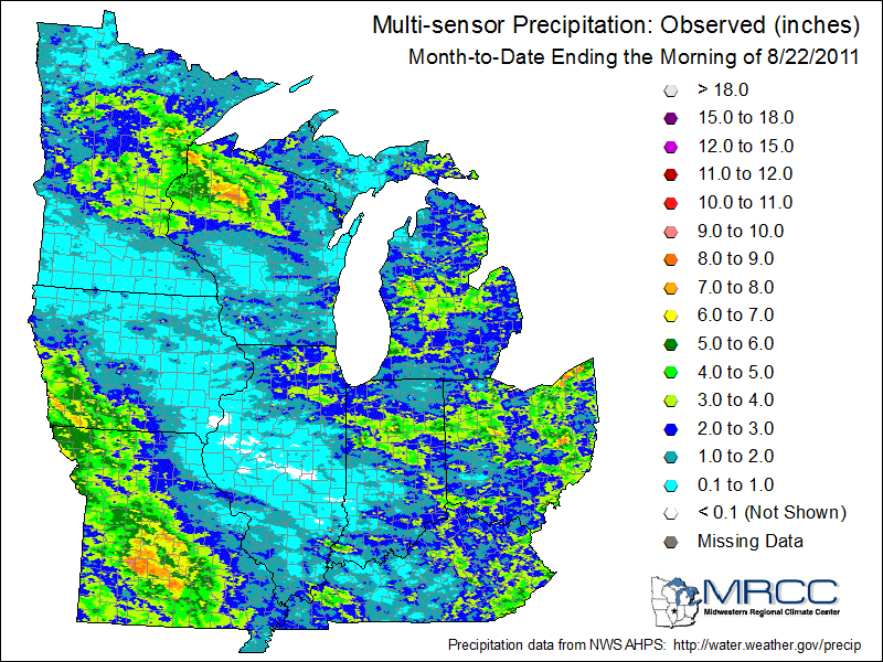 Rainfall across the Midwest for August 2011