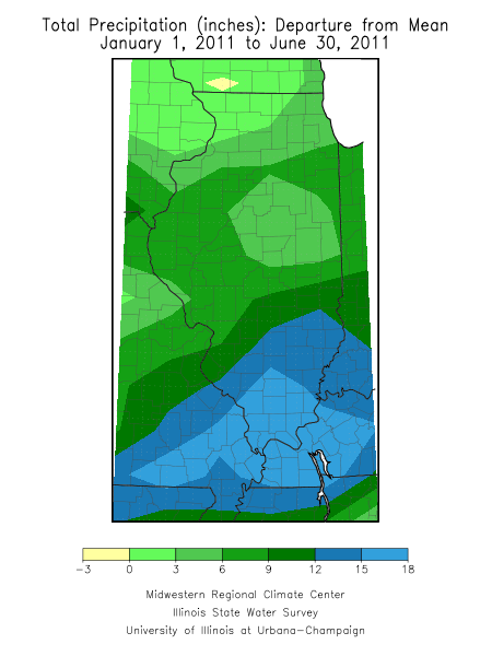 January-June 2011 precipitation departure