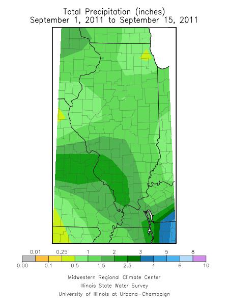 September 1-15 precipitation in Illinois