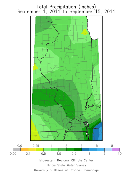 September 1-15 precipitation in Illinois