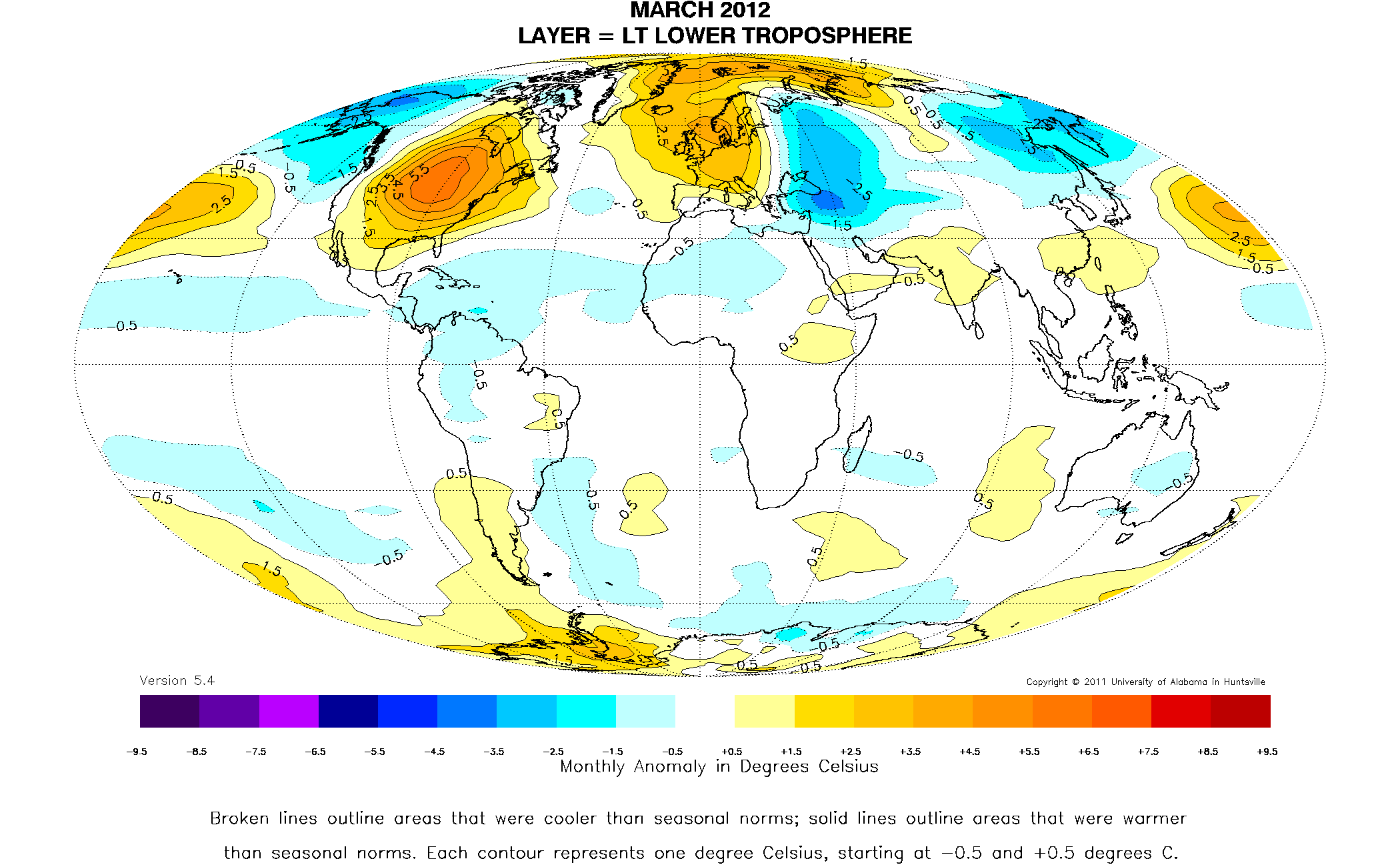 World view of march temperatures illinois state climatologist global temperature departures in the lower atmosphere for march 2012 map courtesy of the university of alabama hunstville and dr john christy publicscrutiny Images