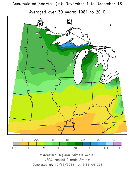 Normal snowfall from November 1 to December 17 for the period 1981-2010.