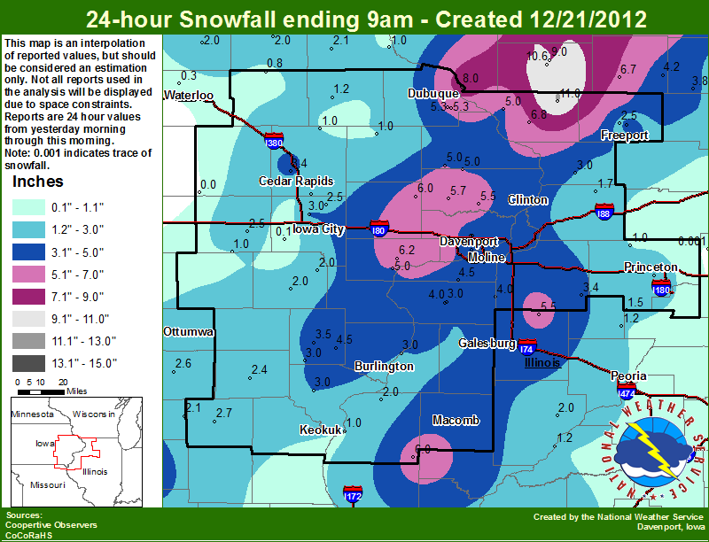 Snowfall map for December 21, 2012, produced by the NWS office in Davenport, IA. Click to enlarge.