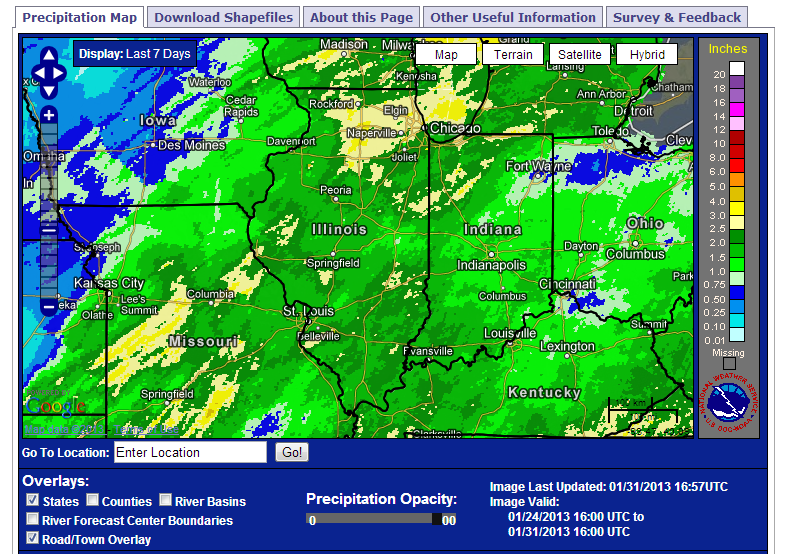 Seven-day precipitation totals ending January 31, 2013.