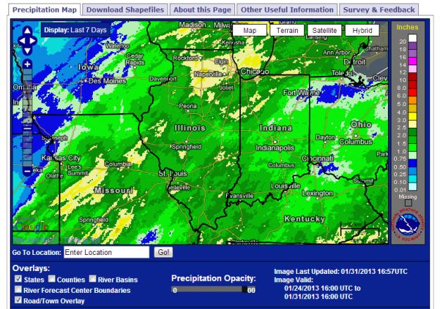 Seven-day precipitation totals ending January 31, 2013.