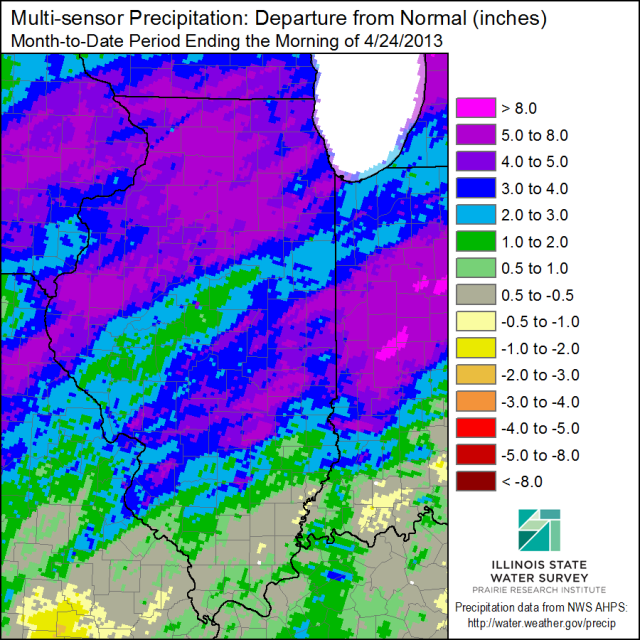 April precipitation as departures from average. Click to enlarge.