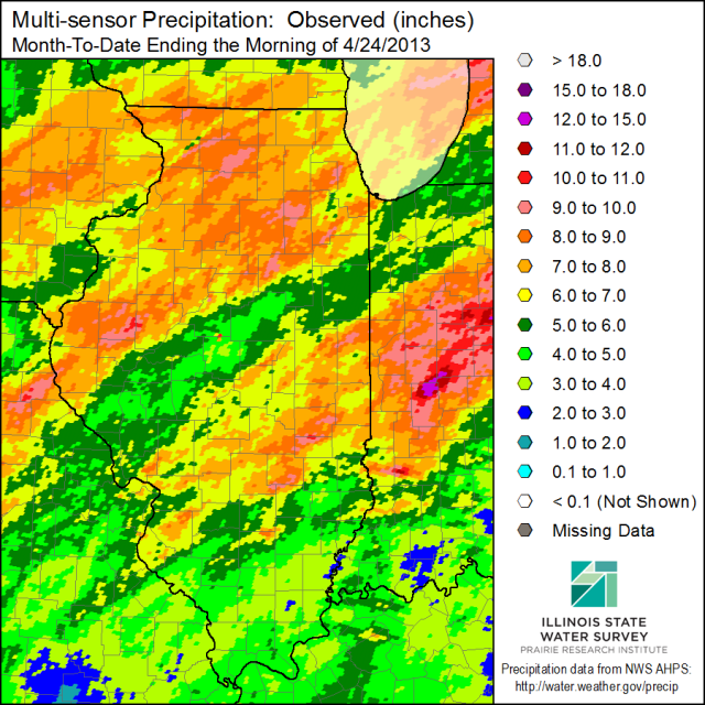 April precipitation in inches for the first 24 days of the month. Click to enlarge.