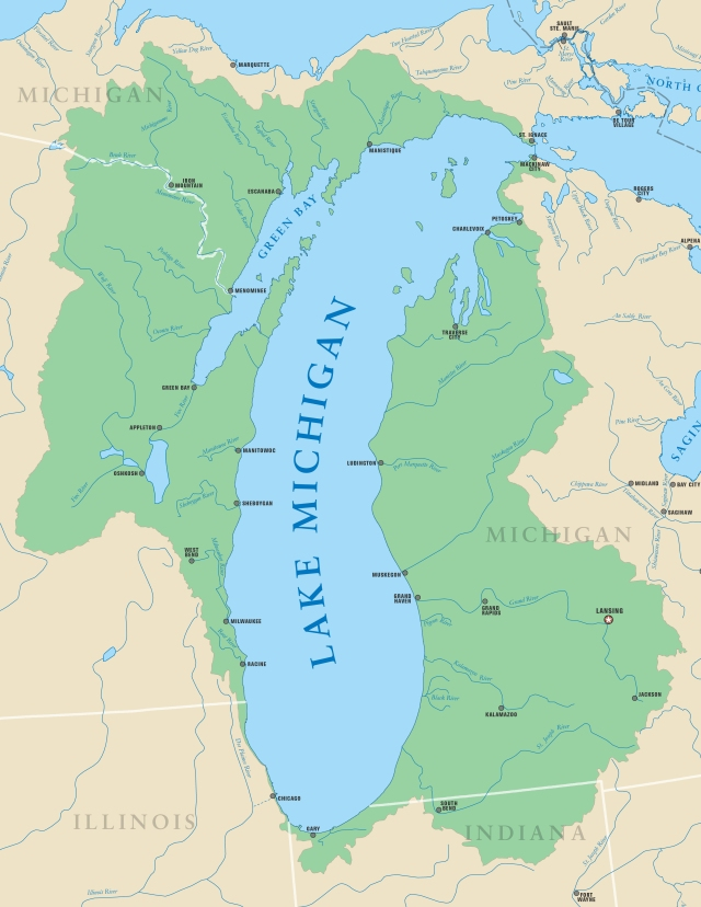 Map of Lake Michigan drainage basin. Note how little of it extends into Illinois. Map from the Michigan Sea Grant at http://www.miseagrant.umich.edu/explore/about-the-great-lakes/lake-michigan/.