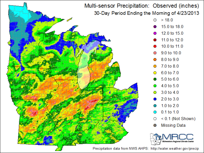 Map of precipitation across the Midwest. Heavy rains fell across northern Illinois, over Lake Michigan, and into the state of Michigan. Map by the Midwestern Regional Climate Center.