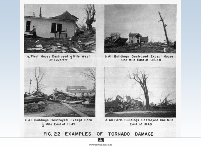 Damage caused by the April 9, 1953, tornado.