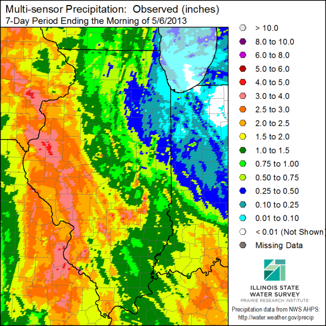 Rainfall over the last 7 days in Illinois. Click to enlarge.