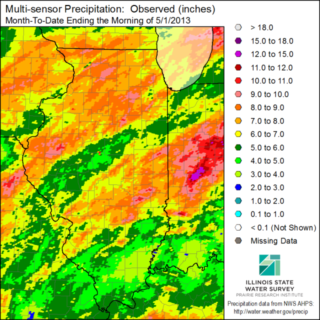 The April 2013 precipitation, ending with reports on the morning of May 1. Click to enlarge.