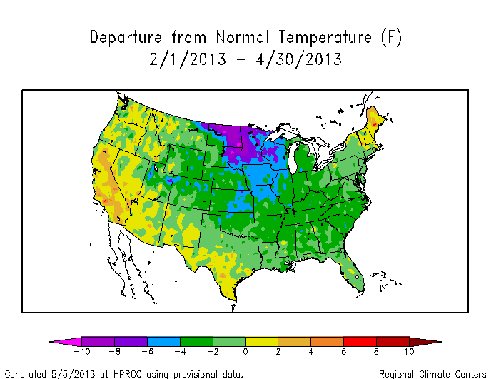 Map of temperature departures from average for February, March, and April. Areas in green are below average and areas in blue are much below average.