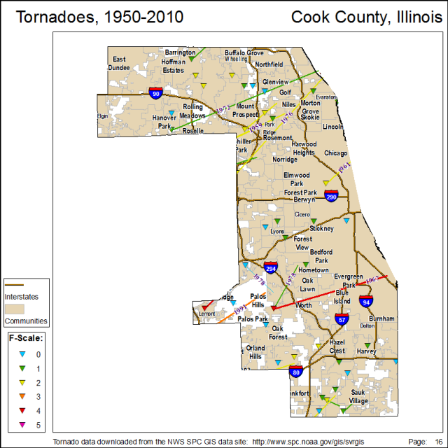 Tornado tracks and touchdowns in Cook County. Click to enlarge.
