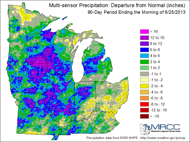 90-Day precipitation departure from normal (1981-2010 average).