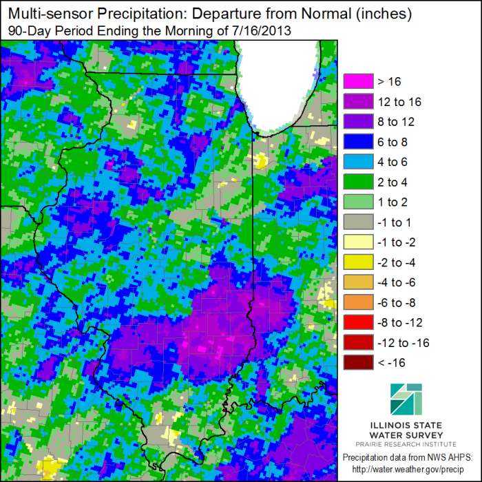 Precipitation departures from the 1981-2010 average for the last 90 days in Illinois.