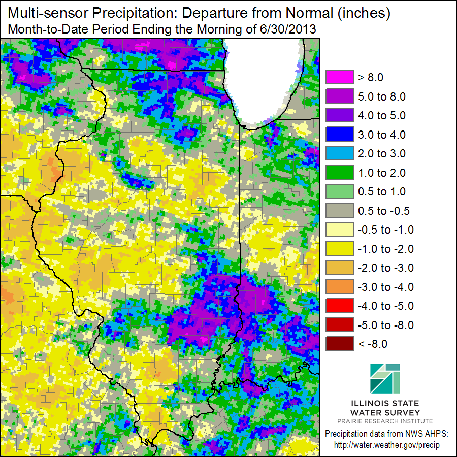 June Precipitation Departure from Average.