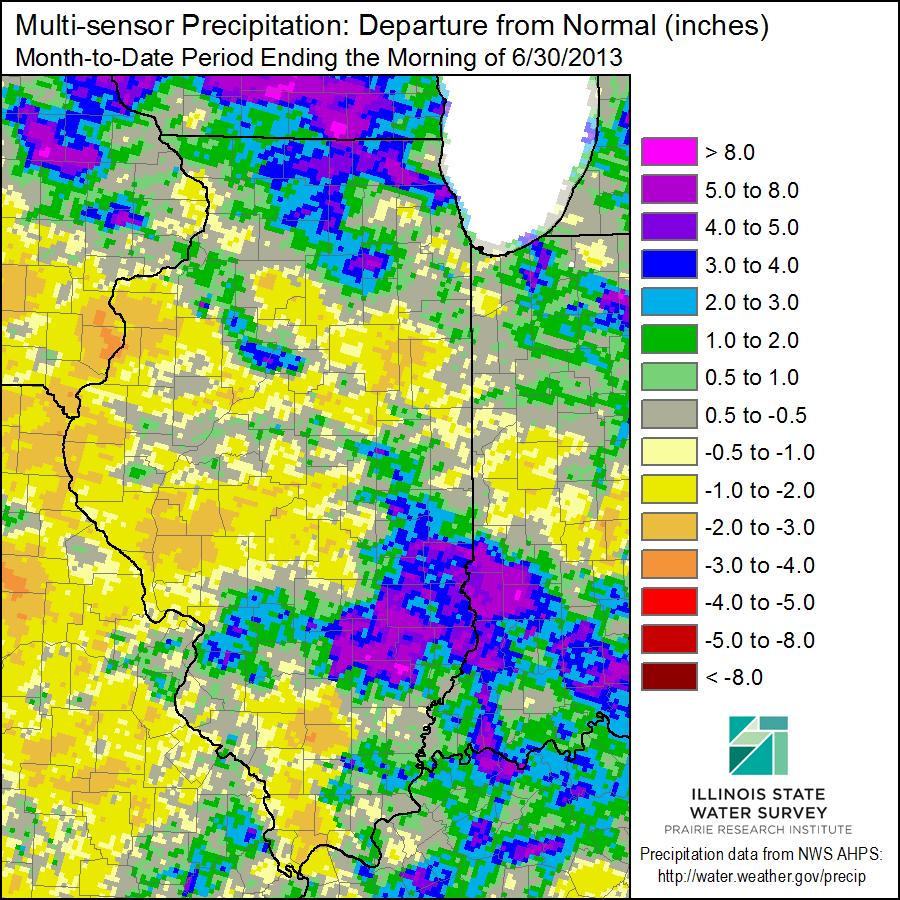 June Precipitation Departure from Average.