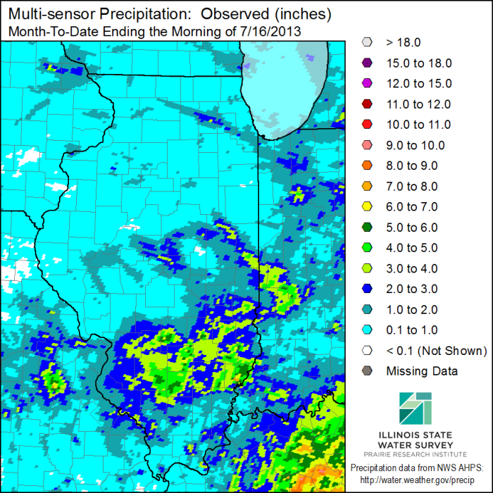July 2013 precipitation through July 16.