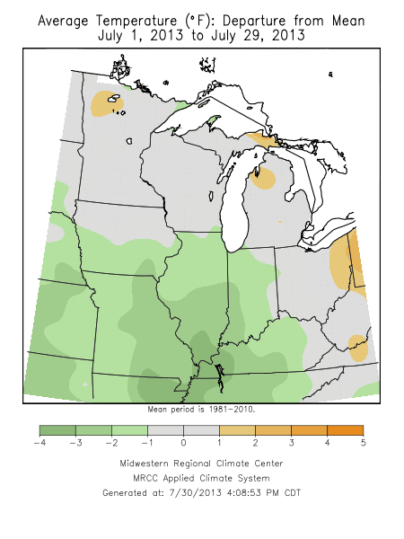 Temperature Departures for this July through the 29th. Cool weather prevails across much of the lower Midwest.