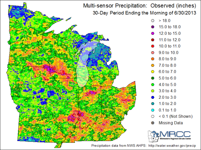 30-day precipitation through the morning of June 30 for the Midwest.