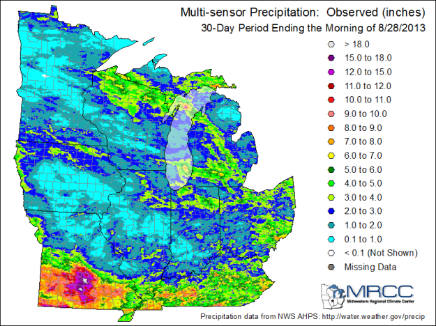 30-day precipitation across the Midwest, courtesy of the Midwestern Regional Climate Center.